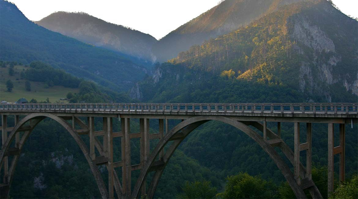 The Djurdjevica bridge over the Tara river and canyon.
