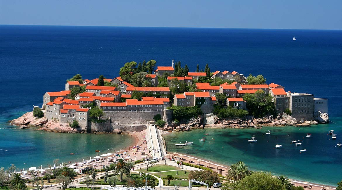 The Sveti Stefan island in Montenegro.