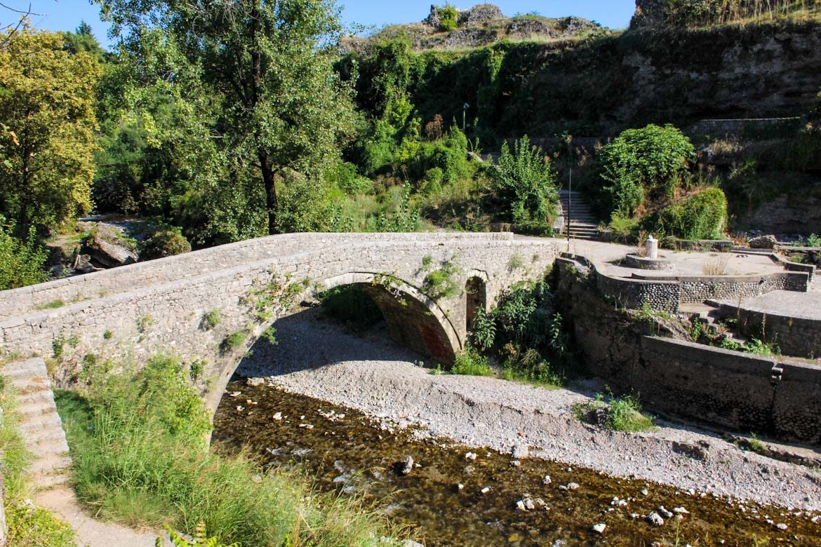 The old bridge in Podgorica over the Ribnica river.